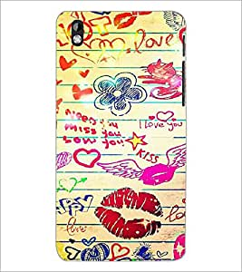 PrintDhaba Love D-6097 Back Case Cover for HTC DESIRE 816 (Multi-Coloured)