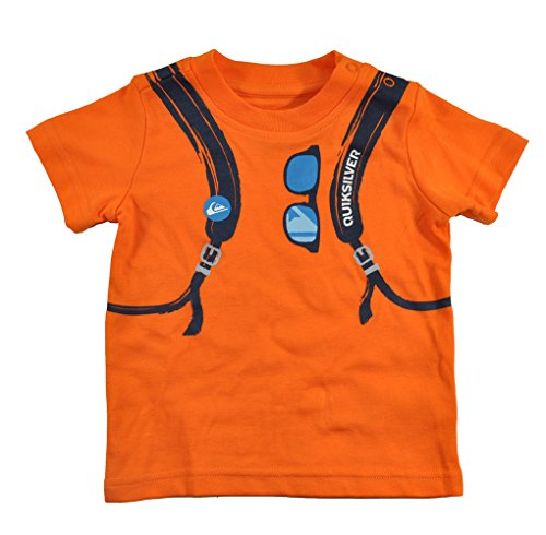 Quiksilver Baby Boys' Tee Back Pack Screen Print with Plaid Shorts, Orange, 24 Months