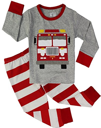Fire Truck Pajamas for Boys Sleepwear Clothes Toddler 2 Piece Pants Set Grey 2T (Toddler One Piece Thermal Pajamas compare prices)
