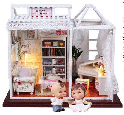 Big Dollhouse Miniature Diy Wood Frame Kit With Light Model Sweet Promise Gift Ldollhouse68-D95