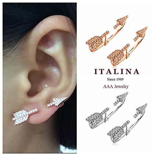 Lukso :Gold Plated Cubic Zircon Paved Fashion Cupid Arrow Earrings Jackets Women Par Jewelry
