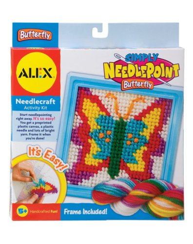 Alex Toys Simply Needlepoint Kits, 6-1/2-Inch by 6-1/2-Inch, Butterfly