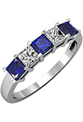 14K White Gold Princess Blue Sapphire & White Diamond 5 Stone Bridal Wedding Band Anniversary Ring 1 CT