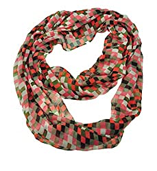 WishCart Chequer Printing Infinity Circle Loop Scarf For Womens and Girls-Multi Pink