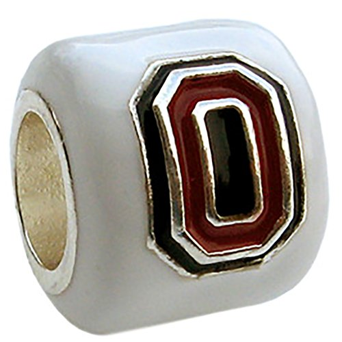 OSU Buckeyes 3-D Block O logo Bead Charm - WHITE - Fits Pandora & Others