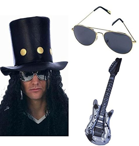 Slash Heavy Metal Rocker Hat with Wig, Guitar and Sunglasses Fancy Dress