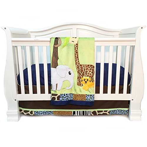 One Grace Place Jazzie Jungle Boy Infant Crib Bedding Set, Navy Blue/Chocolate Brown