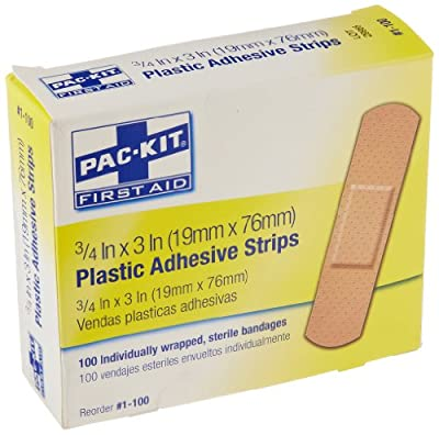 """Pac-Kit by First Aid Only 1-100 Plastic Adhesive Bandage Strip, 3"""" Length x 3/4"""" Width (Box of 100) by Pac-Kit"""