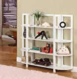 White Finish Wood Foldable 4 Tier Shelves Bookcase Plant Stand