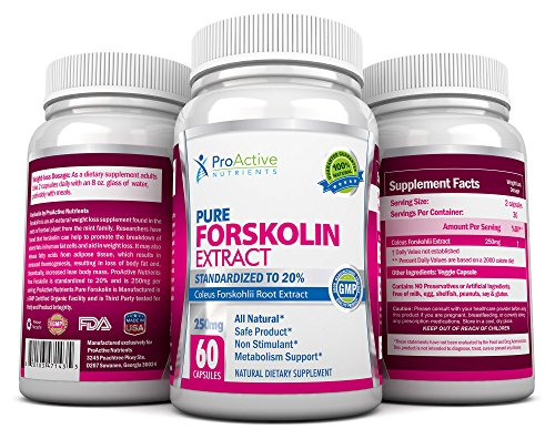 Proactive Nutrients Forskolin Fat Burner- Fastest Acting Coleus Forskohlii Supplements - 250 Mg Premium Free... From Side Effects And Chemical Additives. Proven Safe And Effective For Melting Belly Fat And Helping Real People Lose Weight! Your Satisfactio
