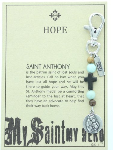 Saint Anthony, Patron Saint Of Lost Souls And Lost Articles (Hope) Keychain. Beautiful Saint Keychain With Wooden And Amazonite Beads & Wooden Cross. The Saint Medal Are Hand-Cast In The Usa Of Premium Pewter And Have An Antique Silver Finish. front-177643