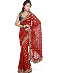 Utsav Fashion Women's Maroon Faux Georgette Saree with Blouse - B00KV6O2X4