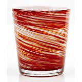 Impulse Galaxy Rocks Hand-Crafted Glass, Orange, Set of 4