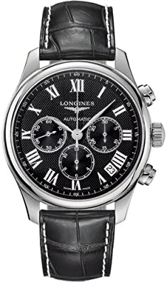 Longines Master Chrono Roman 44mm Watch Black Dial, Black Leather Strap L26934518