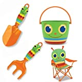 Melissa & Doug Giddy Bug Trowel, Cultivator, Pail and Happy Giddy Chair Child's Outdoor Gardening