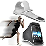 Nokia Lumia 610 Universal Sports Armbands Running Bike Cycling Gym Jogging Ridding Arm Band Case Cover (White) By Spyrox