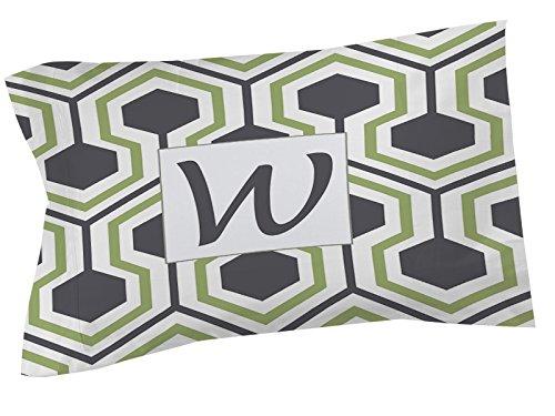 Thumbprintz Pillow Sham, Standard, Monogrammed Letter W, Grey Honeycomb front-465022