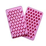 VWH 55 Mini Heart Shapes Silicone Soap Crayon Ice Cube Candy Decoration Chocolate Mold, Reusable Cake Mold