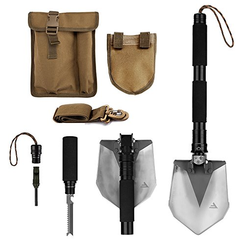 FiveJoy Compact Military Folding Shovel (RS) - Portable Multitool, Tactical Entrenching Tool for Camping, Backpacking, Hiking, Car, Garden, Snow, Heavy Duty Emergency Survival Gear (Case Included) (Yukon Bottle Opener compare prices)