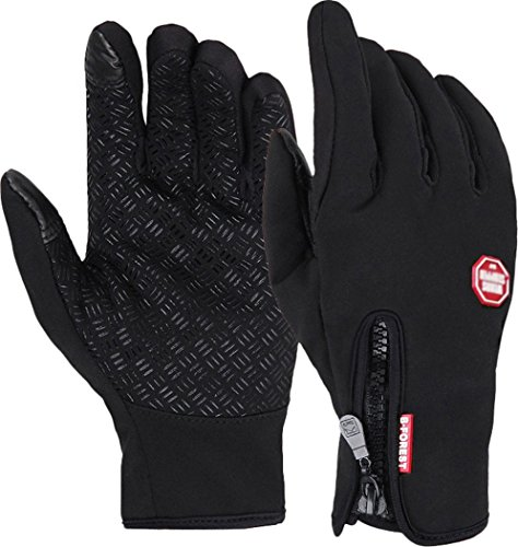Byoung Winter Outdoor Cycling Touchscreen Gloves Glove for Smart Phone Black S
