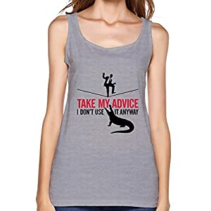 PTHF Womens Take Advice Cotton Tank Tops Vest Gray S