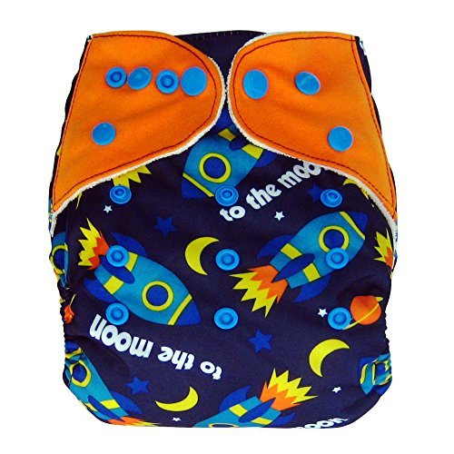Bamboo All In One Cloth Diaper with Pocket, Spaceship - 1