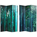 Asian Nature Art - 6ft. Deep Green Bamboo Forest Photo Print Room Divider - 3 Panel