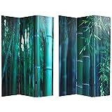 Asian Nature Art - 6ft. Deep Green Bamboo Forest Photo Print Room Divider - 3 Panel