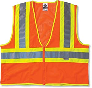 Glowear 8230Z Class 2 Two-Tone Vest, Orange, S/M