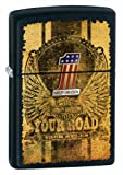 2 x Zippo Harley Davidson Lighters - Your Road Black Matte - Chrome Tank And Leather Pouch