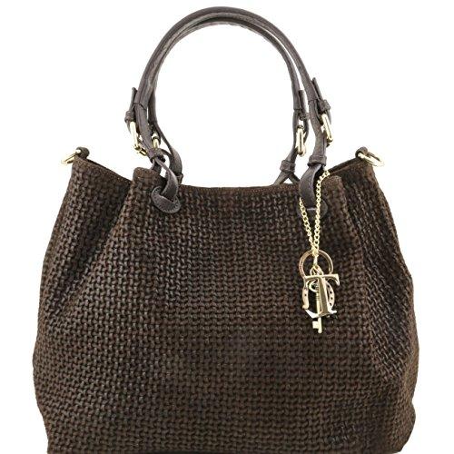 Tuscany Leather TL KeyLuck - Borsa shopping in pelle stampa intrecciata Testa di Moro Borse donna a tracolla
