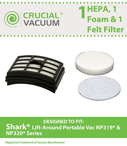 Crucial Vacuum HEPA, Foam and Felt Filter Kit Fits Shark Lift-Around Portable NP318, NP319 and NP320 (Shark Lift Around Vacuum compare prices)
