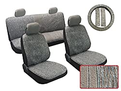 See 13PC Woven Light Gray Saddle Blanket Car & Truck Seat Cover Set - Front Seats and Headrest, Rear Bench Seats, Steering Wheel Cover, Seat Belt Pads, Designed for Chrysler vehicles Details