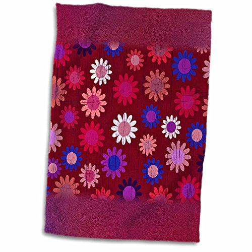 Anne Marie Baugh Patterns - Pink and Blue Sixties Flowers On A Grunge Background - 11x17 Towel (60s Background)