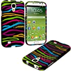 myLife Rainbow + Black Zebra Stripes Series (2 Piece Snap On) Hardshell Plates Case for the Samsung Galaxy S4 Fits Models: I9500, I9505, SPH-L720, Galaxy S IV, SGH-I337, SCH-I545, SGH-M919, SCH-R970 and Galaxy S4 LTE-A Touch Phone (Clip Fitted Front and Back Solid Cover Case + Rubberized Tough Armor Skin)