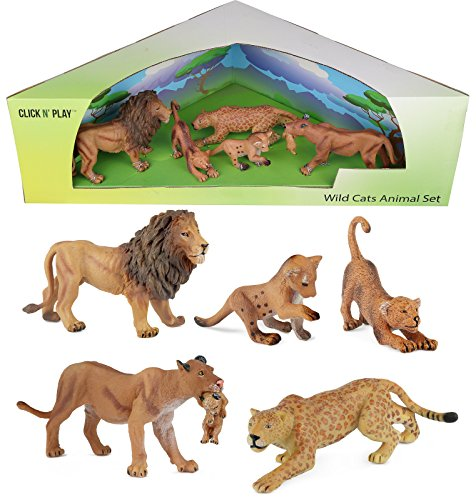 Click N' Play Assorted Beautifully Detailed Lion Wild Cat, Animal Set.