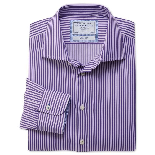 Charles Tyrwhitt Purple and lilac block stripe business casual slim fit shirt (17.5 - 36)