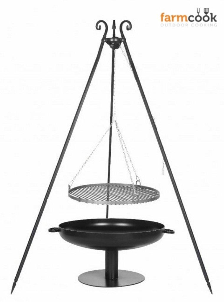 Dreibein Grill VIKING Höhe 180cm + Grillrost aus Rohstahl Durchmesser 50cm + Feuerschale Pan41 Durchmesser 60cm günstig kaufen