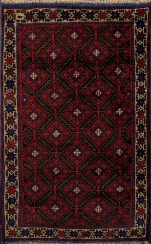 3 X 5 Burgundy Hand Knotted Handmade Royal Balouch Wool on Wool Area Rug Oriental Persian G500