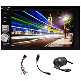 Free HD Rear Camera Included Universal Double Din In-Dash Car DVD Player Stereo Radio 6.2-inch Digital Touch Screen...