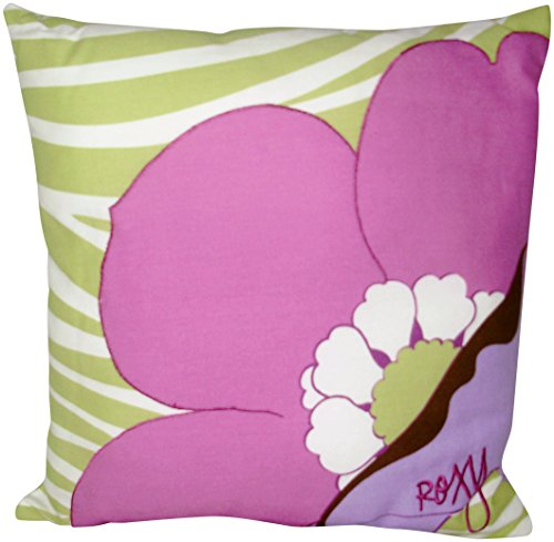 Roxy Hot House Magneta And Green Large Floral Teen Girls Decorative Toss Pillow front-66508