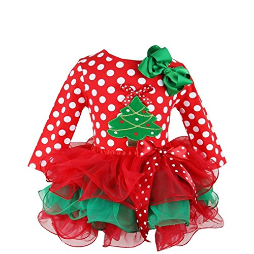Kirei Sui Girls Red Green Petal Tutu and Christmas Tree Green Polka Dots Tee