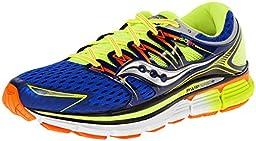 Saucony Men\'s Triumph ISO Running Shoe,Blue/Citron/Vizi Orange,12 M US