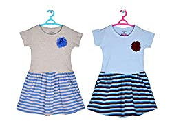 Sathiyas Girls 100% Cotton Gathered Dresses (Pack of 2)