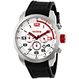 red line Men's RL-60000 Overdrive Chronograph Silver Textured Dial Black Silicone Watch