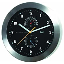 Bai Brushed Aluminum Weather Station Wall Clock, Black