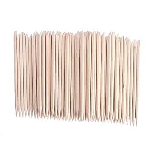 DMtse 100 Pcs Nail Art Orange Wood Stick Sticks Cuticle Pusher Remover Manicure Pedicure Tool
