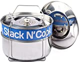 Stack N' Cook Stackable Steamer Insert Pans with Sling - Instant Pot Accessories for 6, 8 Qt - Stainless Steel Food Steamer for Pressure Cooker & Pot in Pot Accessories - with Two Interchangeable Lids