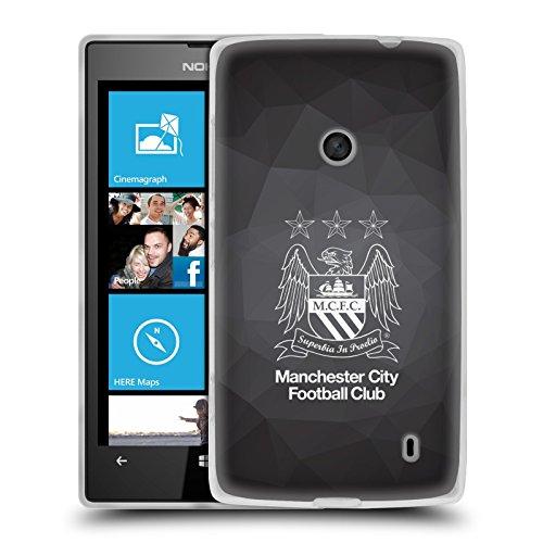 Ufficiale Manchester City Man City FC Nero Geo intero blu cielo Crest Geometrico Cover Morbida In Gel Per Nokia Lumia 520 / 525