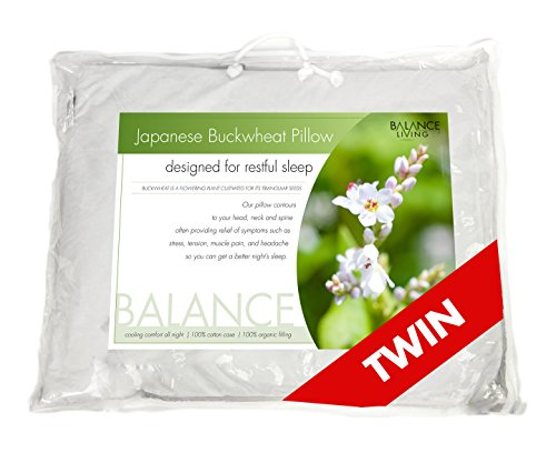 Best Price! Balance Living Buckwheat Pillow Twin Size 20x 26, 100% Organic Cotton Cover